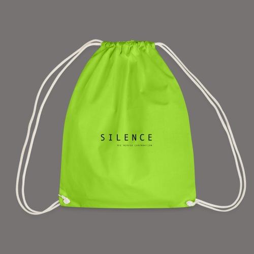 Silence text and corp pos 01 - Drawstring Bag