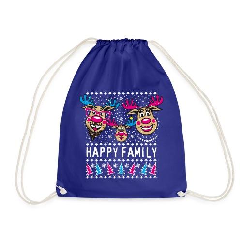 95 Rentier Rudolph HAPPY FAMILY Papa Mama Kind - Turnbeutel
