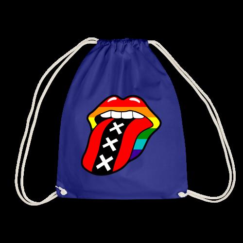 Gay pride rainbow mond met tong en Amsterdam logo - Gymtas