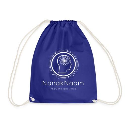 Nanak Naam Logo and Name - White - Drawstring Bag