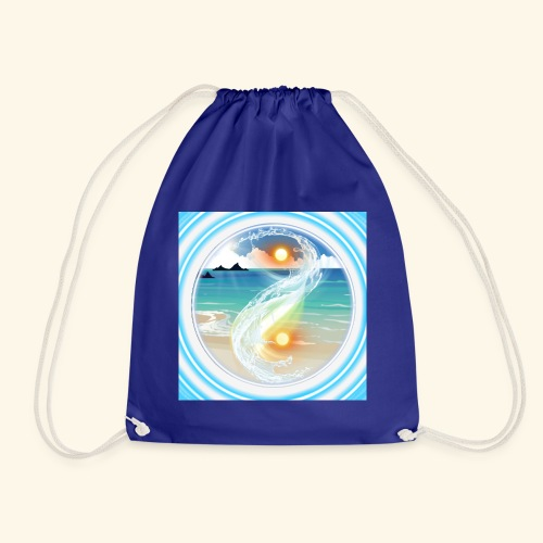 Yin Yang beach scene white - Drawstring Bag