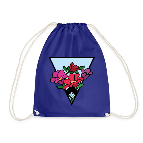 colourful flower bouquet in a triangle - Drawstring Bag