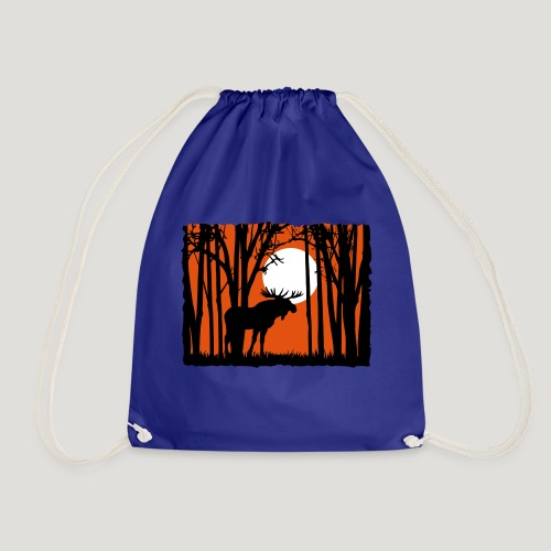 Sonnenuntergang, Elch im Wald, Moose in the woods - Turnbeutel