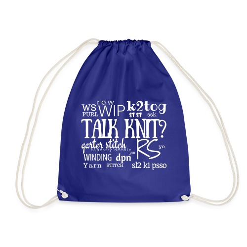 Talk Knit ?, white - Drawstring Bag