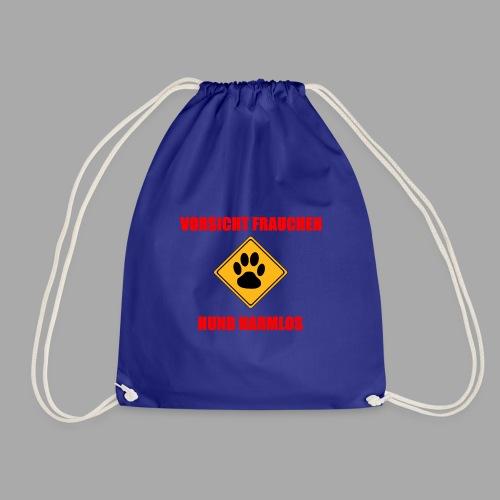 Vorsicht Frauchen - Hund harmlos - Turnbeutel