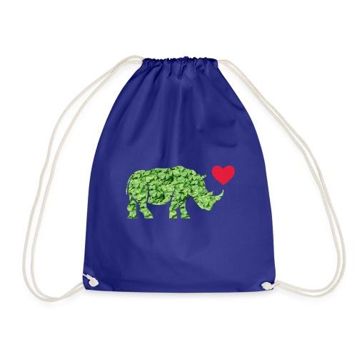 Russell Rhino Green Leaf - Drawstring Bag