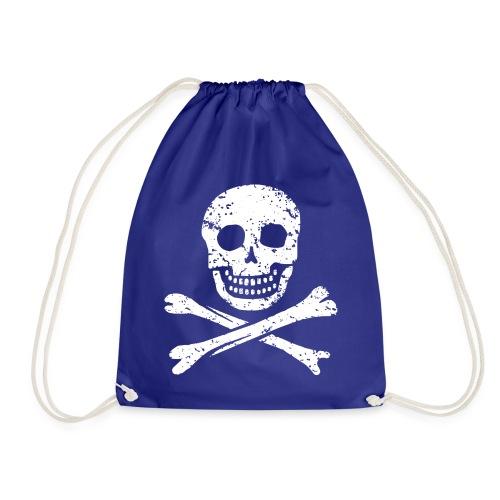 Skull & Crossbones - Distressed - Drawstring Bag