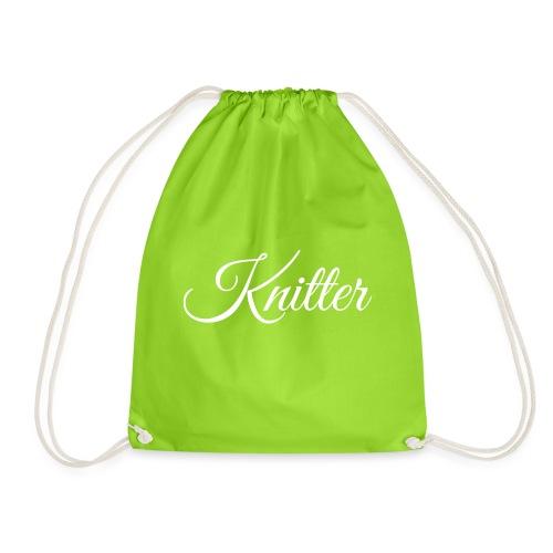 Knitter, white - Drawstring Bag