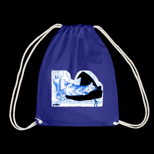 Tyrrin Hexenkater auf Hut (blau) - Turnbeutel