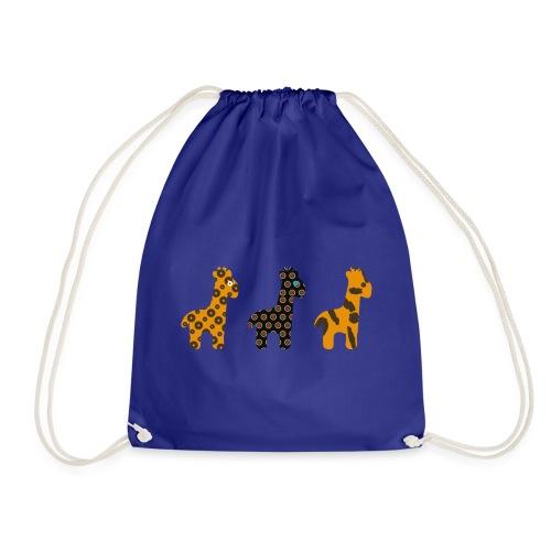 3 Giraffes in a row - Drawstring Bag