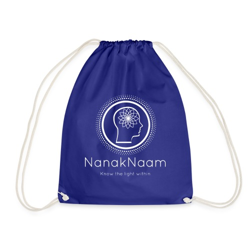 Nanak Naam Logo and Name - White - Drawstring Bag