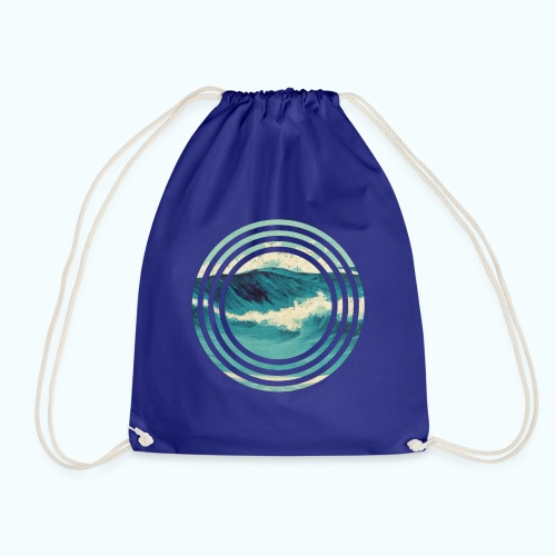 Wave vintage watercolor - Drawstring Bag