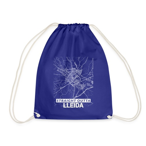 Straight Outta Lleida city map and streets - Drawstring Bag