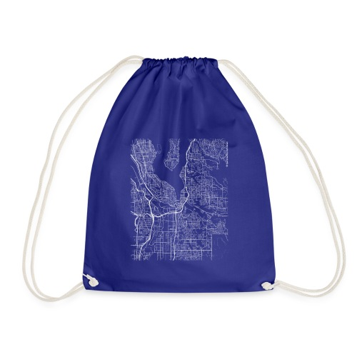 Minimal Renton city map and streets - Drawstring Bag