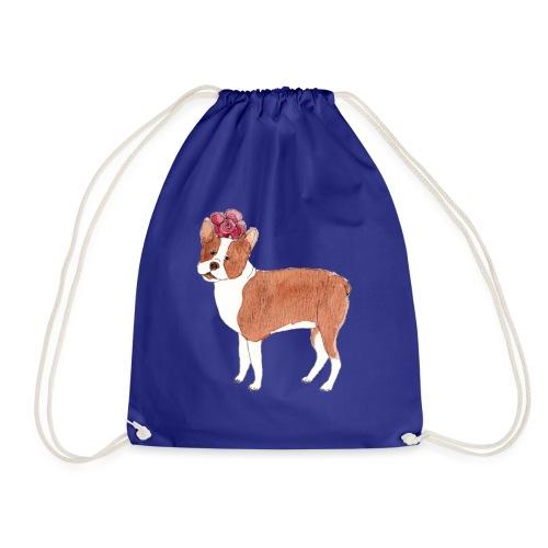 boston terrier with flower - Sportstaske