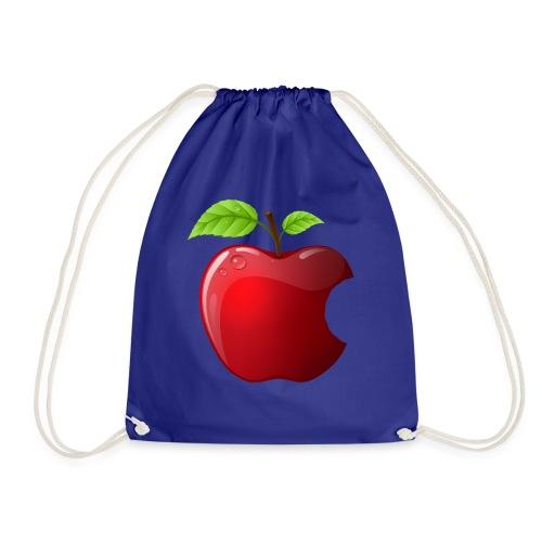 Symbol roter Apfel mit 2 Blätter glänzend - Turnbeutel