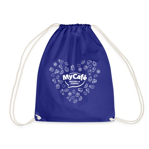 My Cafe Heart White - Drawstring Bag
