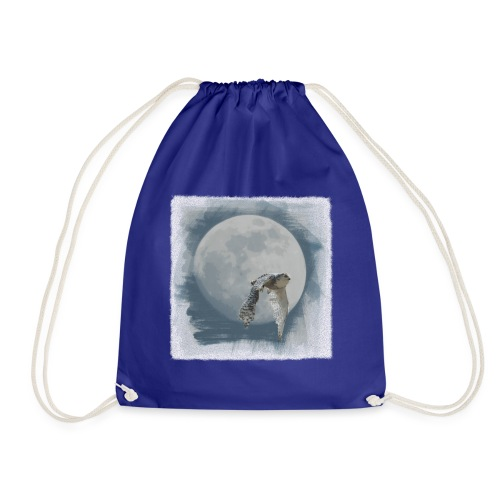 Flying owl full moon watercolor photo art - Drawstring Bag