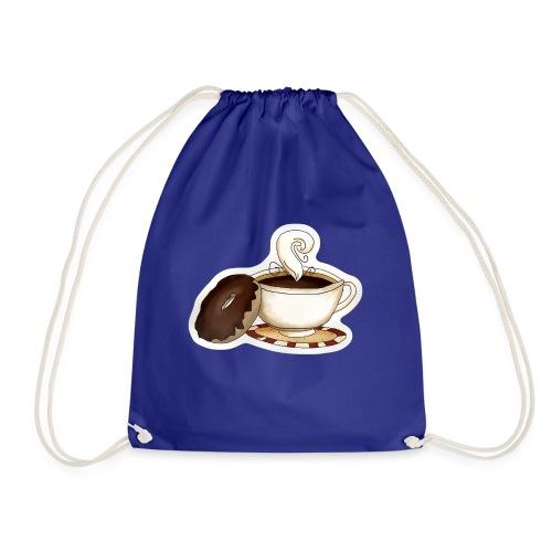 Kaffee und Donut - Turnbeutel