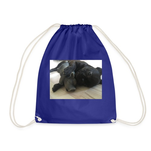 kuschelnder Hund - Turnbeutel
