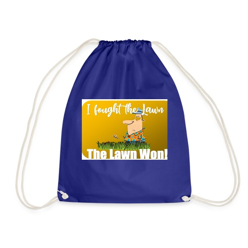 I fought the lawn cartoon - Drawstring Bag