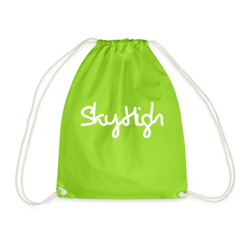 SkyHigh - Men's Premium Hoodie - White Lettering - Drawstring Bag