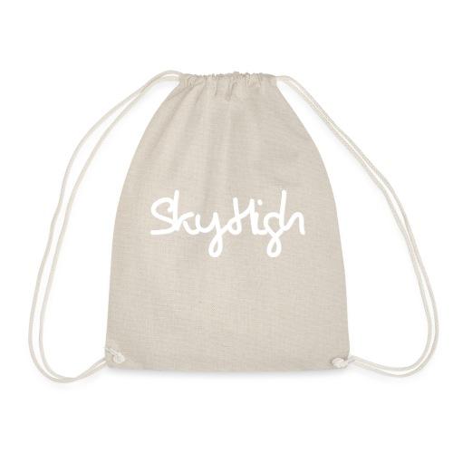 SkyHigh - Men's Premium Hoodie - White Lettering - Drawstring Bag