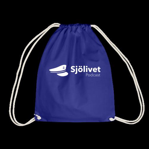 Sjölivet podcast - Vit logotyp - Gymnastikpåse