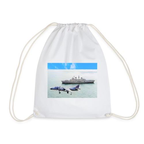Sea harrier and Invicible digital oil - Drawstring Bag