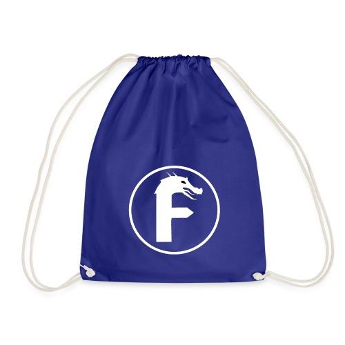 frontier dragon logo circle (white) - Drawstring Bag