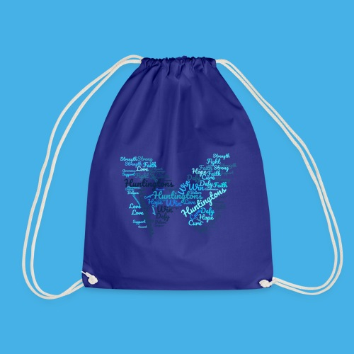 Huntington's Disease Butterfly Word Graphic - Drawstring Bag