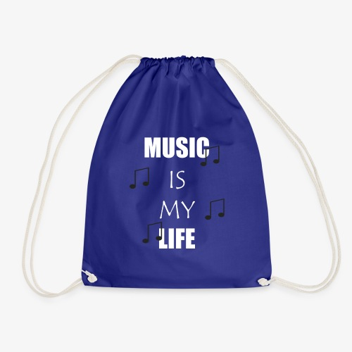 Music is my Life - Weiß - Turnbeutel