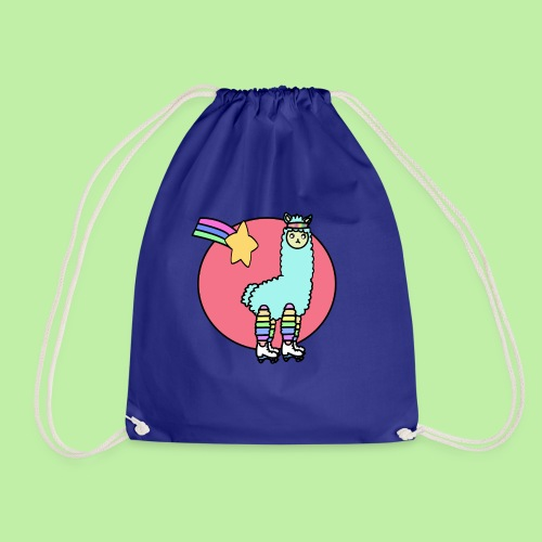 Disco - no drama the 80's kawaii llama - Drawstring Bag