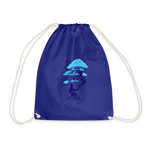 tree design dark blue and light blue (Bonsai) - Drawstring Bag