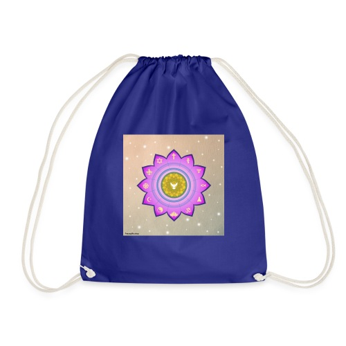 0 1 Dove Surrounded by Religious Symbols. - Drawstring Bag