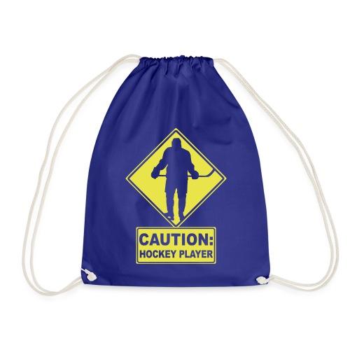 CAUTION: Hockey Player - Drawstring Bag
