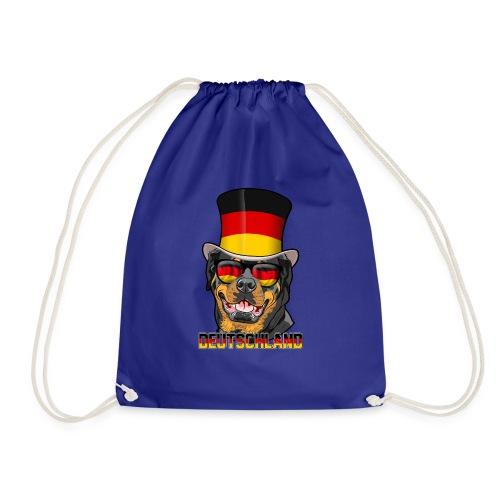 Cooler Deutschland Rottweiler mit Hut und Brille - Turnbeutel