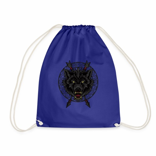Black Wolf T-Shirt Arrows Angry Wolves Canine Dog - Drawstring Bag