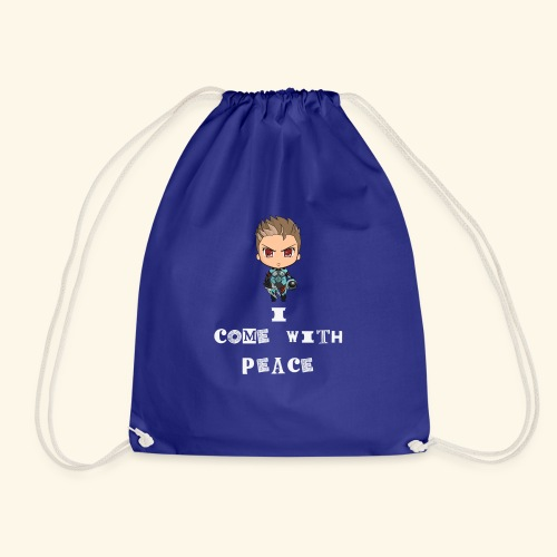 I come with peace ( white) - Drawstring Bag