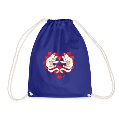 Katze Liebe Herze - Drawstring Bag