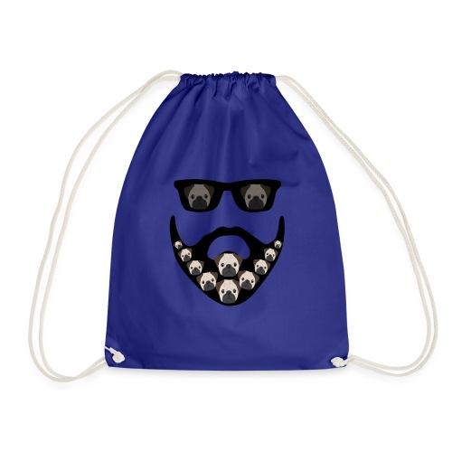 Funny Pug Dog Beard Decoration Design - Drawstring Bag