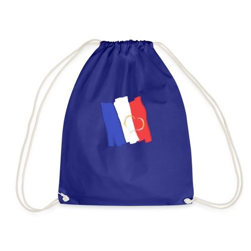 Frankreich Fahne mit Herz Nation Sport Fanshirt - Turnbeutel