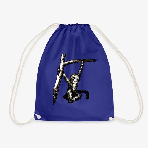 Swinging Monkey in Tree Wildlife T-Shirt - Drawstring Bag