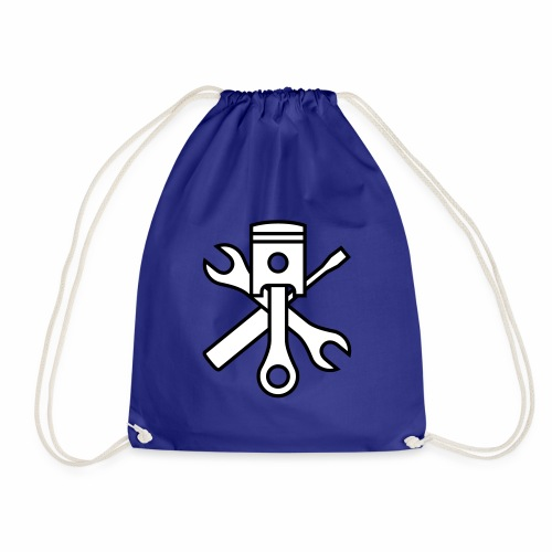 Pistons and tools 2c (+ your text) - Drawstring Bag