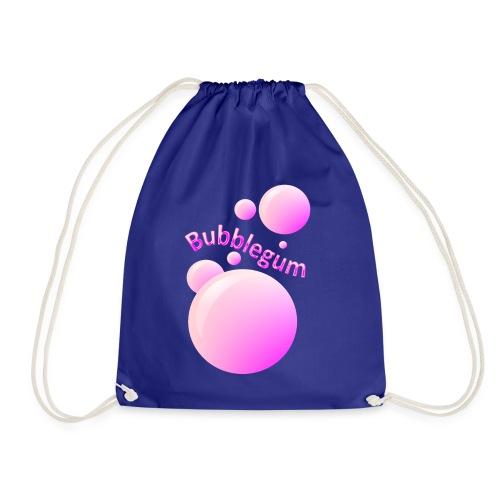 bubblegum glansig text och stora rosa bubblor - Drawstring Bag