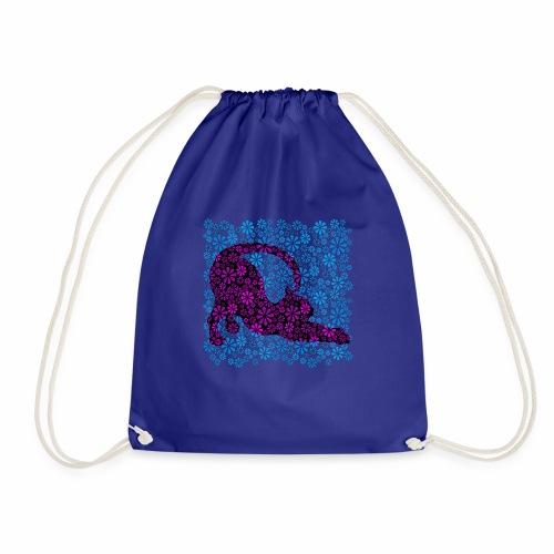 Flower Power Feline - Blue ( petcontest ) - Drawstring Bag