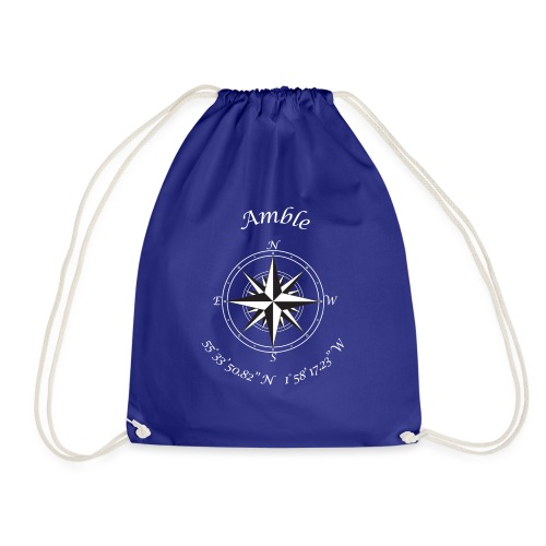 Amble, Northumberland. Compass (white) - Drawstring Bag