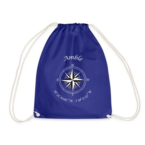 Amble, Northumberland. Compass (white) - Drawstring Bag
