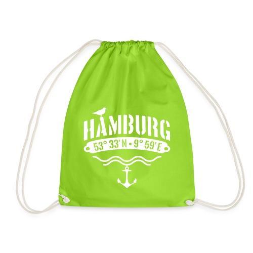 Hamburg Koordinaten Anker Möwe Längengrad - Turnbeutel