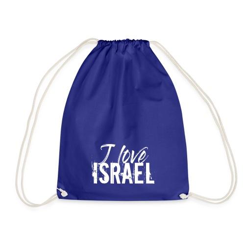 Weißer Schriftzug I Love Israel - Turnbeutel